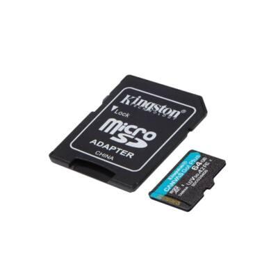 KINGSTON Memóriakártya MicroSDXC 64GB Canvas Go Plus 170R A2 U3 V30 + Adapter